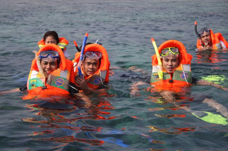 snorkeling in the mid of java sea