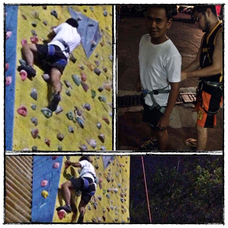 mencoba menaklukkan dinding di ketinggian 25 meter
